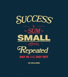 Success is the sum of small efforts, repeated day in and day out. - R Collier #inspiration #quote #motivation