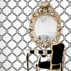 Lovely Modern Trellis Wall Stencil is very easy to stencil and creates a graphic, lacy look |  Royal Design Studio Stencils