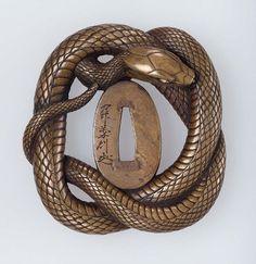 TSUBA | Tsuba with design of snake mid 19th century Seki Yoshinori Nara School ...