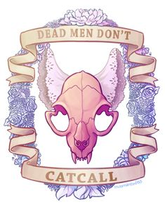 Wouldn't actually tattoo the border or text, but I adore this cat skull with lace ears