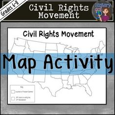 This Civil Rights Movement map activity reinforces students' knowledge of the 48 continental states while they locate key cities where important Civil Rights Movement events occurred. It's an easy way to incorporate geography into your Civil Rights Movement unit. Hands-on labeling, drawing, and coloring makes this a student favorite! Use it in your 6th, 7th, 8th, 9th, 10th, or 11th grade classroom or homeschool! $