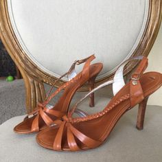 BCBG brown leather heeled sandals Beautiful BCBG  brown leather strappy  super cute sandals BCBG Shoes Sandals