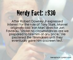 """Nerdy Fact #830 Robert Downey Jr - """"Iron Man"""". I can't see anyone else more perfect for the role. RDJ is Tony Stark/Iron Man"""