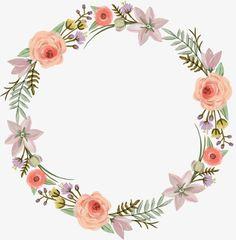 Logo Floral, Clipart, Wreath Watercolor, Watercolor Flowers, Logo Fleur, Happy Birthday Printable, Floral Vintage, Pink Pumpkins, Decoupage Vintage