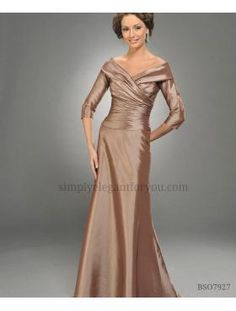 Gorgeous Mother of the Bride #Dress!!! Or this dress could be for a formal dinner, evening #wedding, or gala!! Lovely 3/4 sleeve gown has a banded off the shoulder neckline that pleats across the front bodice. The dress is finished with a simple A-line skirt.   Order in Yellow, Tangerine, Praline, Grape, Pink, Bubble Gum, Fuchsia, Watermelon, Claret, Wine, Celadon, Apple, Aqua, Cornflower, Sapphire, Purple, Copper, & Black.    (seforyou)