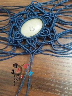 Macrame Tutorial 六芒星项链 第13步 Macrame Earrings, Macrame Jewelry, Crochet Necklace, Collar Macrame, Micro Macramé, Stone Wrapping, Bracelet Knots, Bijoux Diy, Diy Accessories