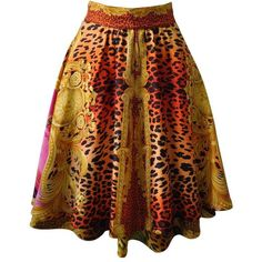 """Preowned Quintessential Gianni Versace Couture """"miami"""" Silk Skirt ($3,900) ❤ liked on Polyvore featuring skirts, brown, brown tiered skirt, animal print skirt, versace, floral printed skirt and flower print skirt"""