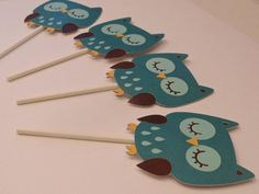 Owl toppers (6) in blue and chocolate brown! Great for a baby shower, gender reveal or birthday party! Coordinating banners are also available: