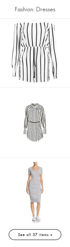 """""""Fashion: Dresses"""" by katiasitems on Polyvore featuring jumpsuits, rompers, striped romper, stripe romper, white off the shoulder romper, playsuit romper, striped rompers, dresses, blouses and louis vuitton"""