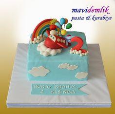 mavi demlik mutfağı- izmir butik pasta kurabiye cupcake tasarım- şeker hamurlu-kur: UÇAKLI 2 YAŞ PASTASI