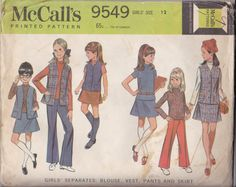 McCalls 9549 Girls size 12 - Girls seperates