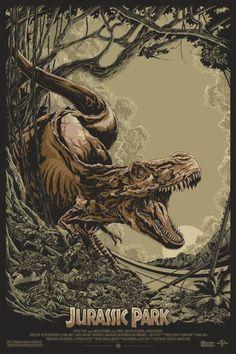 Ken Taylor ilustrações poster cartaz filmes silkscreen Jurassic Park: O Parque dos Dinossauros