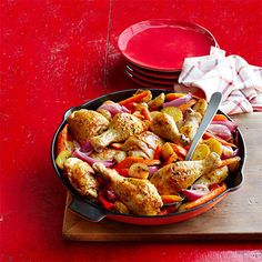 Skillet-Roasted Chicken, Potatoes, and Peppers #myplate #protein #vegetables