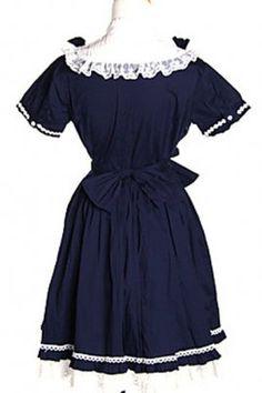 2014 Fashion Short Sleeve Knee-length Cotton Sweet Lolita Dress With Bow, ocrun.com