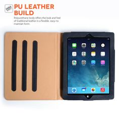 Caseflex iPad Air Case Black PU Leather Stand Cover With Sleep / Wake Function
