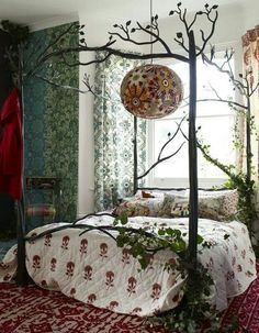 Insane ⋴⍕ Boho Decor Bliss ⍕⋼ bright gypsy color hippie bohemian mixed pattern home decorating ideas – Woodland bedroom with iron four-poster bed. The post ⋴⍕ Boho Decor Bliss ⍕⋼ bright gyps . Dream Bedroom, Home Bedroom, Bedroom Decor, Fairytale Bedroom, Bedroom Ideas, Fairy Bedroom, Fantasy Bedroom, Master Bedroom, Bedroom Furniture