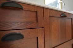 I knew from day one I wanted quarter-sawn white oak cabinets for my craftsman style kitchen remodel that mimicked the old Stickley mission finishes. I did exte… Walnut Kitchen Cabinets, Stained Kitchen Cabinets, Farmhouse Cabinets, Oak Cabinets, Kitchen Cabinet Design, Painting Kitchen Cabinets, Kitchen Paint, Diy Kitchen, Kitchen Ideas