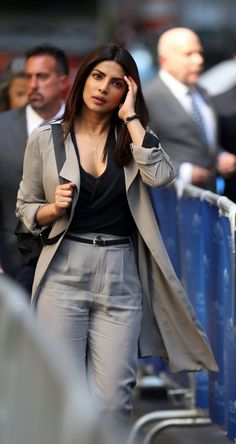 Pin for Later: Priyanka Chopra Swings Into Action on the Set of Quantico Season 2 Casual Work Outfits, Work Casual, Cute Outfits, Quantico Season 2, Quantico Alex, Bollywood Fashion, Bollywood Actress, Quantico Priyanka Chopra, Estilo Fashion