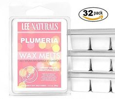 Lee Naturals Classics - (32 Pack) PLUMERIA Premium All Natural 6-Piece Soy Wax Melts. Hand Poured Naturally Strong Scented Soy Wax Cubes