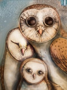 Three Wise Owls Painting  - Three Wise Owls Fine Art Print