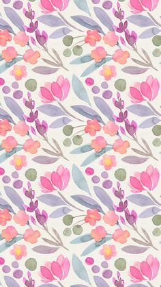 le jardin de flore  digital wallpapers watercolor floral pastel colors illustration graphism printtpattern