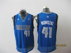 Adidas NBA Dallas Mavericks 41 Dirk Nowitzki Swingman Road Blue Jersey