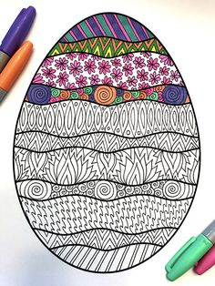 Wavy Easter Egg – PDF Zentangle Coloring Page – Scribble & Stitch You are in the right place about Easter Eggs ideas Here we offer you the most beautiful pictures about the Easter Eggs packaging you a Easter Coloring Pages, Printable Coloring Pages, Adult Coloring Pages, Coloring Books, Easter Art, Easter Crafts, Easter Eggs, Easter Egg Pattern, Easter Egg Designs