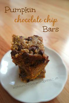 pumpkin chocolate chip oat bars
