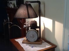 My attempt at lamp. My dad's old rotary mower engine.