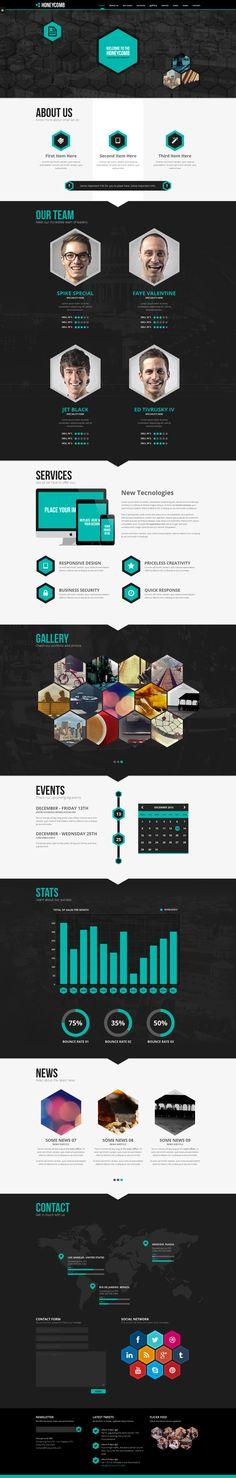 HoneyComb OnePage Theme by CreAtive Web Themes, via Behance
