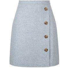 Hobbs Dacia Wrap Skirt, Light Blue (1,735 MXN) ❤ liked on Polyvore featuring skirts, blue wrap skirt, straight skirt, blue skirt, wrap skirt and light blue skirt