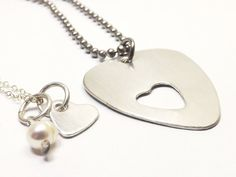 Sterling Silver Guitar Pick and Heart Couples Necklace Set by MissAshleyJewelry, $50.00