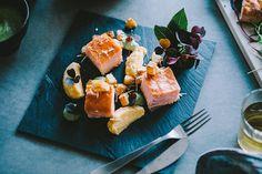 Salmon dish on black slate