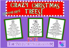 """Christmas Tree Coloring Pages """"Crazy Christmas Trees"""" Set # 2 from The Purple Bee Classroom on TeachersNotebook.com (3 pages)"""