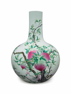 A largefamille rose'Nine peach' bottle vase, 19th century