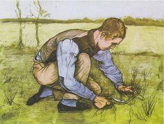 Page: Boy Cutting Grass with a Sickle Artist: Vincent van Gogh Completion Date: 1881 Style: Post-Impressionism Genre: genre painting Technique: watercolor Material: paper Dimensions: 61 x 47 cm Gallery: Rijksmuseum Kröller-Müller, Otterlo, Netherlands Van Gogh Watercolor, Watercolor Sketch, Vincent Van Gogh, Van Gogh Drawings, Van Gogh Paintings, Paul Gauguin, Desenhos Van Gogh, Van Gogh Arte, Fine Art