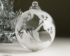 Etched Glass Christmas Ornament Snow Cardinals and Berries