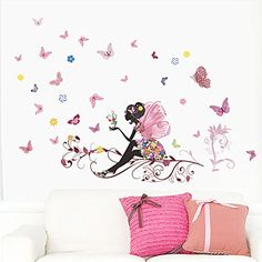 Fairy Pink Eyes Butterfly Wall Art Door Stairs Living Room Bedroom Decor Woman Teenager Baby Girls Kids Children Nursery Decal Wall Sticker Murals Poster Wallpaper -- Details can be found by clicking on the image.