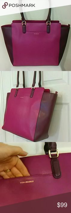 Genuine leather Morgan work tote Vera Bradley This is a lovely tote in plum genuine leather!  Two shades of plum, darker on the side panels and straps.  Goldtone hardware.  The slip pocket on the front is perfect for your cell phone.  The bag zips closed and has one zip pocket and 2 slips inside.  This is very professional looking and would be great for work or school, or everyday use.  Comes with dustbag. Vera Bradley Bags Totes
