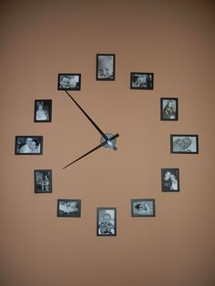 large wall clock out of picture frames   (use 4x6 for 12, 3, 6, and 9; use 3 1/2x5 for 1, 2, 4, 5, 7, 8, 10, and 11; buy clock hands at craft store or online)