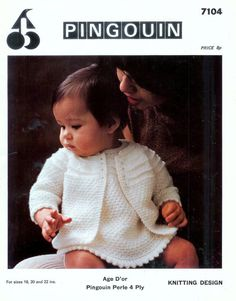 Baby Sweater / Jacket and Dress in 3 ply for sizes 18 - 22 ins - Pingouin 7104 - PDF of of Vintage Knitting Patterns
