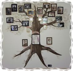 Both of my parents have dementia/alzheimers. We recently had to move them to an adult care home. I painted this tree on their wall so they would see all of us every morning when they wake up..
