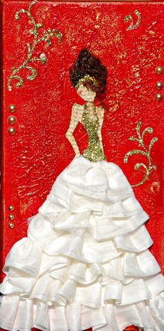 """Mixed media girl on 6x12 canvas by Bette Brody Calling her """"Belle"""""""