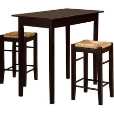 Counter Height Dining Set Kitchen Table Small Room Space Bar Stools Chairs 3Pc