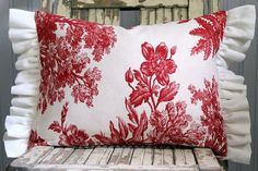Love this vintage red toile pillow and the amazing work done by Sutton place! Red Ticking and Vintage Red Toile Decorative by SuttonPlaceDesigns,