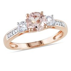 10k Pink Gold 1 1/7ct TGW Multi-gemstone and Single-cut Diamond Ring (0.05 Cttw, G-H Color, I1-I2 Clarity) Amour