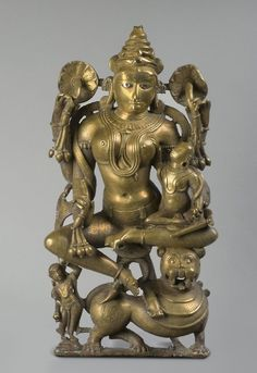 The Goddess Ambika   India   Philadelphia Museum of Art. Geography: Made in Rajasthan, southern Rajasthan, India, Asia Date: c. 12th - 13th century Medium: Bronze with silver and copper inlay Dimensions: 17 3/4 x 8 3/4 x 5 inches (45.1 x 22.2 x 12.7 cm) Object Location: * Gallery 231, Asian Art, second floor Accession Number: 1994-148-62 Credit Line: Stella Kramrisch Collection, 1994