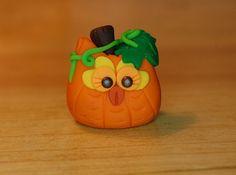 polymer clay owl bright orange pumpkin with by SMarrtCreations, $8.00