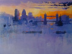 LONDON SUNRISE by Colin Ruffell. London Sunrise is looking east from London Bridge towards Tower Bridge and Canary Wharf.This is a unique oleograph, hand-painted with extra highlights and texture.