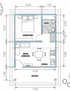 Small Apartment Plans, Studio Apartment Floor Plans, Studio Floor Plans, Small House Floor Plans, Home Design Floor Plans, Bungalow House Plans, Bungalow House Design, Apartment Layout, Cottage House Plans